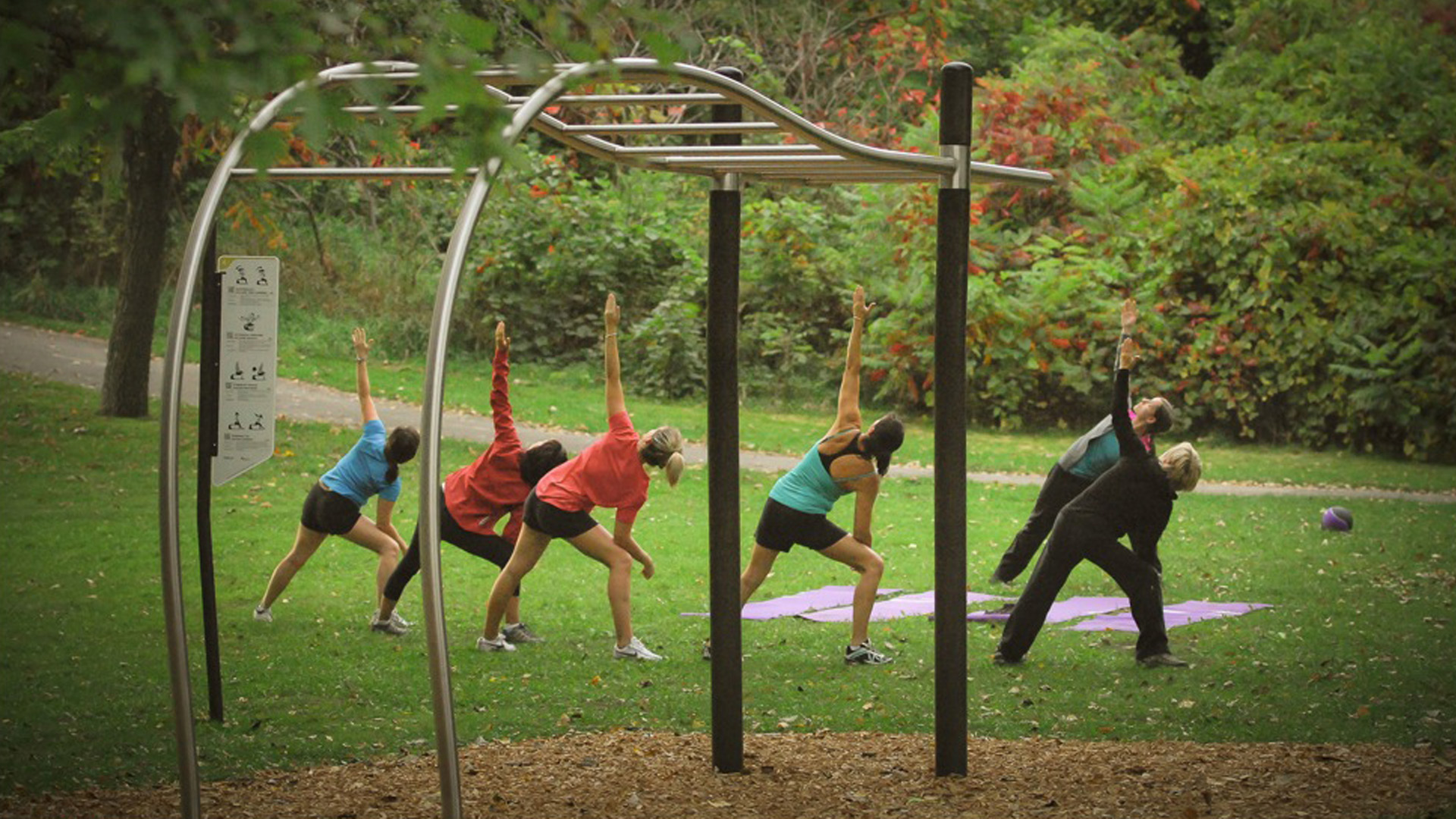 Group women exercice outdoor park